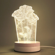 Three Roses Transparent LED Modern Nightlight Touch Table Desktop Lamp hot