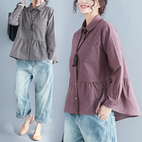 new-fashion-women-Prairie-Chic-loose-spring-autumn-cotton-linen-Plaid-Turn-down-Collar-shirt-female.jpg_200x200