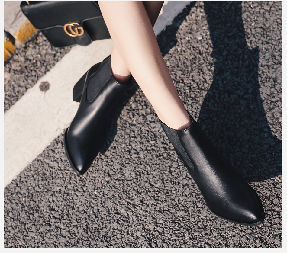 Donna-in 2017 new style genuine leather ankle boots pointed toe thick heel chelsea boots calf leather women boots ladies shoes 96350-17 (7)