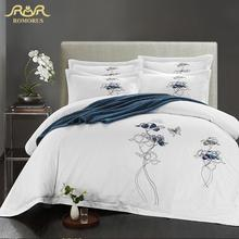 ROMORUS Brief Plant Cotton Satin Fabric Luxury Quilt Covers White Hotel Bed Linen King Queen Size  Household Beding Sets Sale
