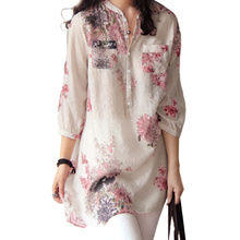4XL 5XL Plus Size Long Blouse Women Vintage Floral Printed Blouse Elegant Lady 3/4 Sleeve Brand Shirt Loose Casual Big Size Top