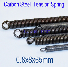 50pcs/lot 0.8*8*65mm 0.8 wire Carbon steel with Zinc extension tension spring springs