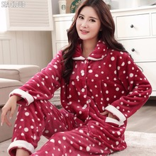 Sea Cloud winter plus size turn-down collar Pregnant Flannel thickening coral fleece sleepwear women big Pajama Sets 3xl 5xl 6xl