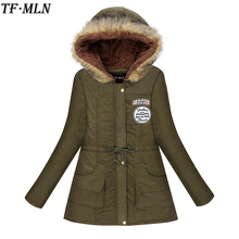 TFMLN 2017 Winter Jacket Women Wadded Parkas Female Outerwear Slim Hooded Coat Long Cotton Padded Fur Collar Jacket Plus Size(China)