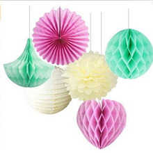 Honeycomb Papers Ball Flower Paper Lantern Hanging Tissue Fan Birthday Wedding Party Decoration Supply Sets Paper Pom Pom Set(China)