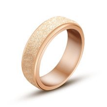 Fashion Rose gold frosted design ring of restoning ancient stylish trendsetter Can rotate finger ring personality simple Jewelry