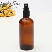 100ml Glass Amber Lotion Pump Atomizer Bottle Essential Oil Perfume Water Vial Black Lid Spray Bottles Women Cosmetic Container(China)
