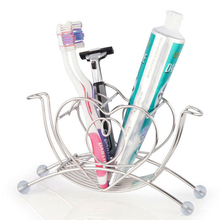 New Hot Sale Stainless Steel Heart Shaped Toothbrush Toothpaste Cup Holder Stand Tumbler Storage Rack Bathroom Accessories(China)