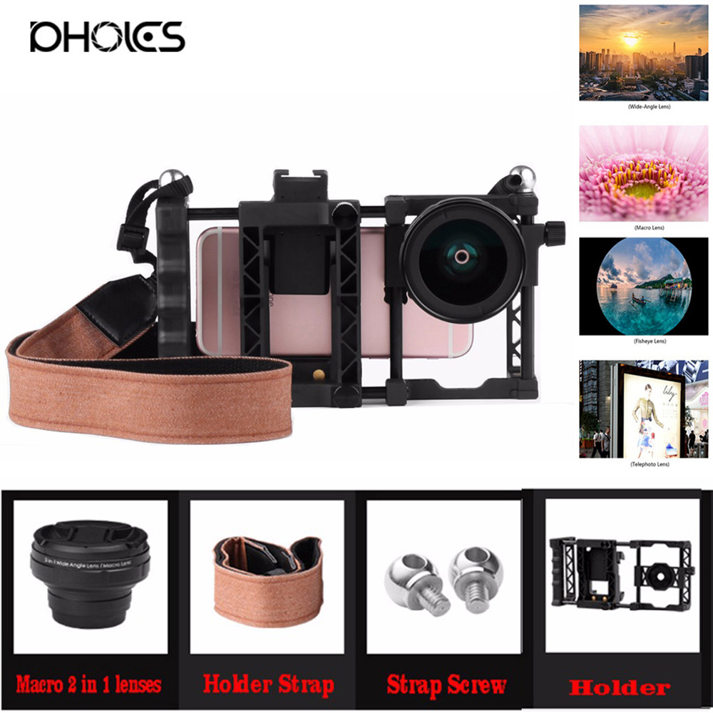 100% New Professional HD Cell Phone Camera lens Kit for iPhone 8 7 6s 6 xiaomi redmi note 4 Samsung Galaxy S8 S8+ 1
