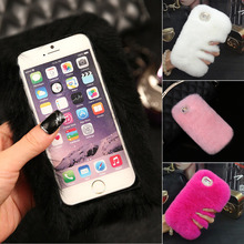 Cell Phone Cases For iPhone 5 5s SE Rabbit Fur Leather Diamond Bling Winter Luxury Soft Sexy Girl Boy Case Back Protective Cover