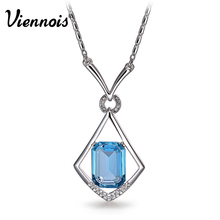 New Viennois Silver Color Blue Crystals from Swarovski Pendant Necklaces for Woman Geometric Pendants Fashion Jewelry