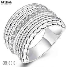 New Sale silver plated rings for men Multilayer lines Zircon thumb ring size 8 9 10 aliancas joias