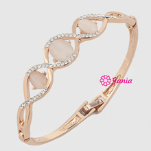 New Arrival Bangles Yellow Gold Czech Crystal Charming Oval Opal Hinged Bangles & Bracelets Jewelry Accessory For Women