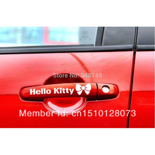 4 X Hello Kitty Car Accessories Car Door Handle Stickers and Decal for Ford Focus Bmw Audi Vw Skoda Polo Golf Opel Toyota Mazda
