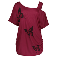 AZULINA Plus Size 4XL 5XL One Shoulder Women Casual T-Shirt 2017 Summer Tshirt Female T Shirt Butterfly Print Fashion Red Top