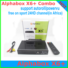 1PCS Free Shipping Alphabox X6+ Combo powervu autoroll bisskey DVB-T2/C/S2 receiver open sport 24HD satellite receiver Africa(China)