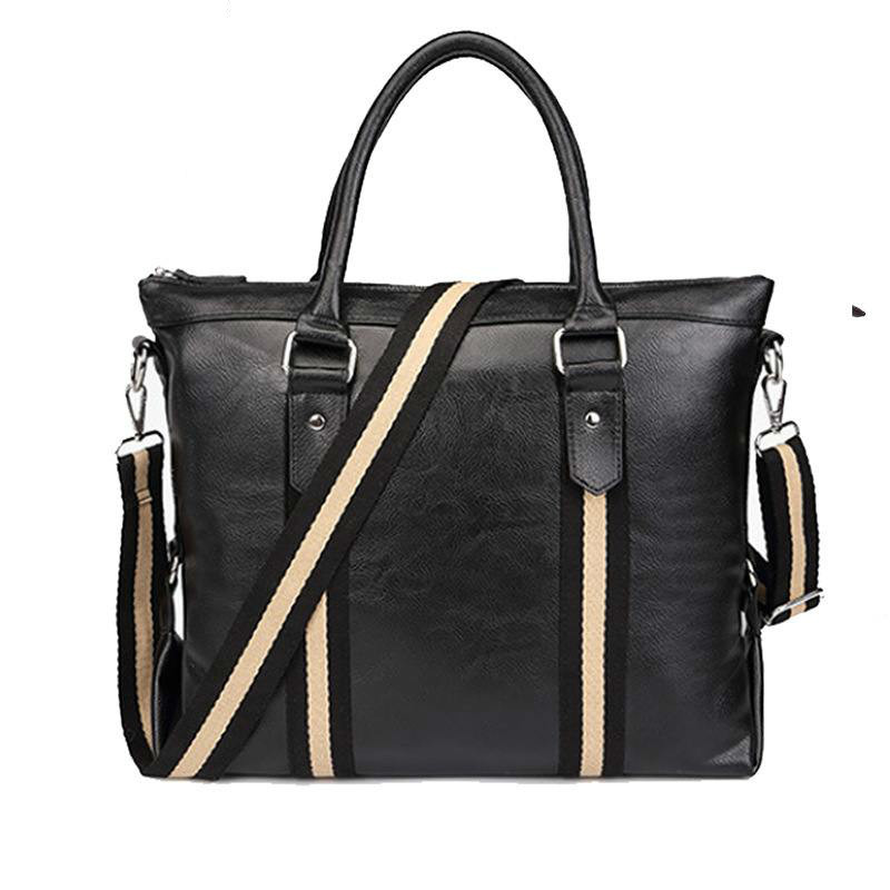Brand Fashion Solid Color Men Luxury Shoulder Bags Large Male Handbag Bolsa Masculina Leather Mens Travel Bags 2018 Briefcases<br>