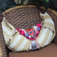 Ethnic Bohemian Summer Beach Bag Straw Hippie Fabric Boho Indian Woven Embroidered Bags Luxury Handbags Women Bags Designer