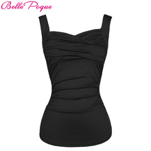 Belle Poque Summer Solid Black Red 2017 Women Hot Sexy Tops Vintage Sleeveless Sweetheart Casual Classic Pinup Fitness Tank Top(China)