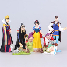 8pcs/lot 5-10cm PVC Princess Charming Snow White Dwarf Action Figure Toy, Cartoon Figure Model Toy, Anime Brinquedos