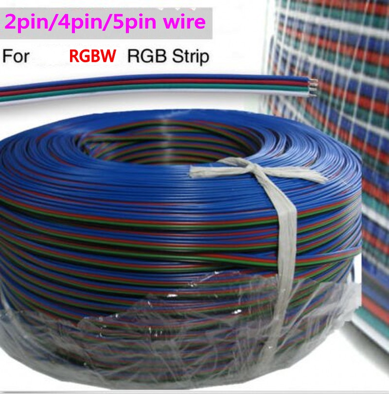 1m 2Pin 3pin 4PIN 5pin RGB RGBW Extension Cable Power Cord Wire 1meter 22AWG free shipping<br><br>Aliexpress