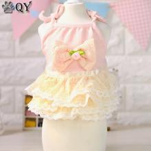 Summer Rose Bow Princess Lace Cute Dog Pet Dresses Pet Products Clothes For Dog Pet Dog Clothing Puppy Pet Apparel(China)