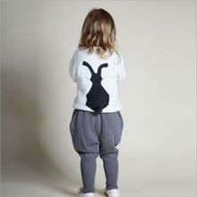 Little Girls Sweater Set Bunny top+Bo Bo Pants Toddler Rabbit Sweater Kids Cotton Tops Full Sleeve Children Clothing Suit White(China)