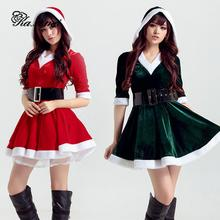 Kaximei Women Dress Christmas Snow White Belt Nice Sexy Princess 2017 Winter Merry Christmas Gift Red Green(China)
