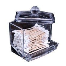 Creative Clear Acrylic Storage Holder Box Transparent Cotton Swabs Stick Cosmetic Makeup Organizer Case