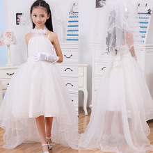 Trailing Dreess Vestidos de daminha White Tulle Lace Beaded Ball Gown Long Flower Girl Dresses Dance Party Dress Princess