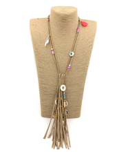 2017 New handmade jewelry supplier unique boho leather tassel pendants long Necklaces for women
