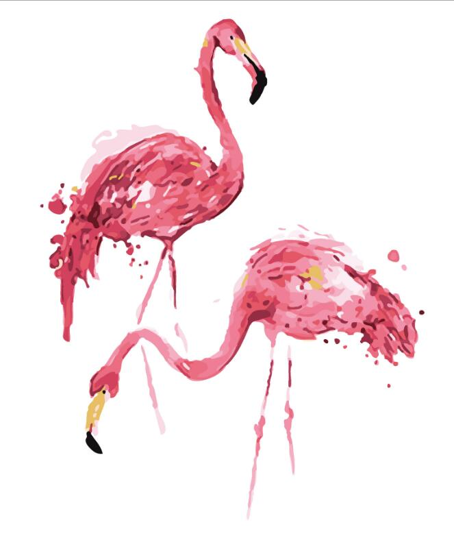 2017 New 22 styles Digital Diy oil painting by numbers Flamingo picture on canvas oil paint coloring by number drawing x38 30