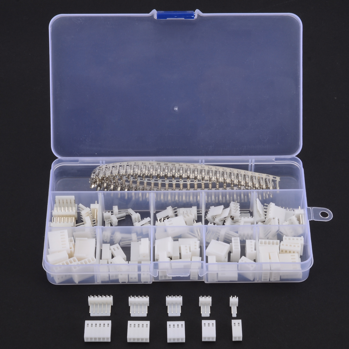 300pcs KF2510 2.54mm 2 3 4 5 6 Pin Female Terminal Housing Header Wire Connector Assortment Kit with Box