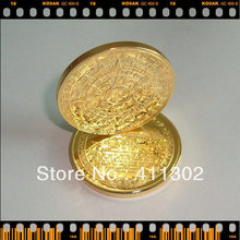 1pcs/lot  24k gold clad replica Mayan 2012 Prophecy Coin ,gold plated bullion
