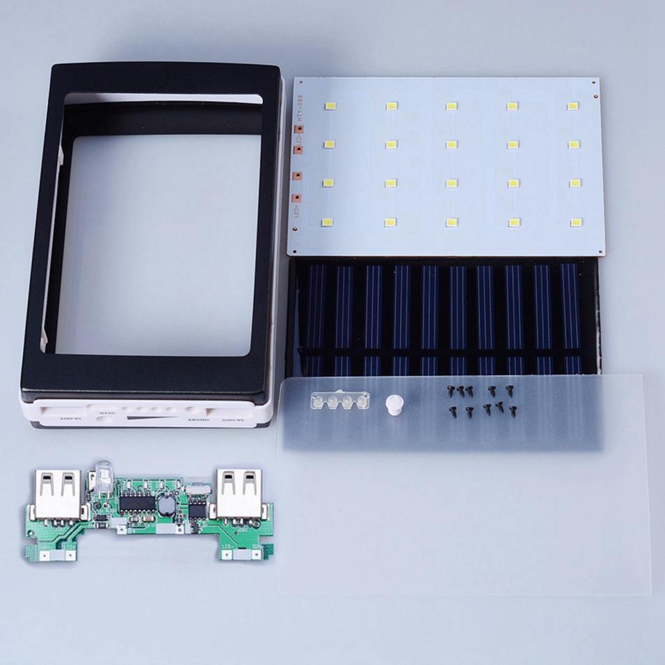 Icoque 18650 Solar Power Bank Case DIY Box Dual USB Kit Phone Charger Flashlight 5x18650 Powerbank Portable Pover Power Bank (3)