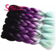 Ombre Braiding Hair  Synthetic Hair Extention  Black Purple Mint green 3 Tone Color Jumbo Braids Bulk Hair Braiding