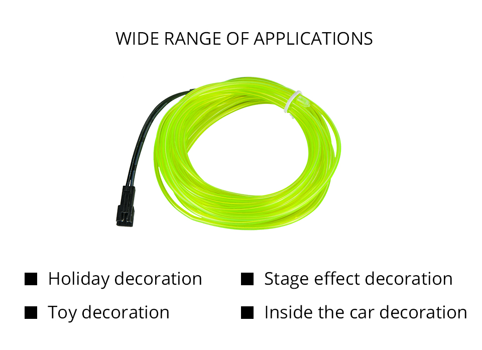 1M2M3M5M Waterproof LED Strip Light Neon Light Glow EL Wire Rope Tube Cable+Battery Controller For Car Decoration Party (2)