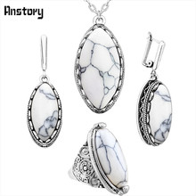Anstory Eye Shape Stone Jewelry Sets 4 Colors Necklace Earrings Ring Antique Silver Plated Stainless Steel Chain Fashion Jewelry