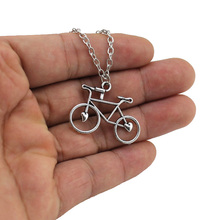"[NO Minimum]Women's Jewelry Vintage Silver Tone 1.2""X0.9"" Bicycle Pendant Short Necklace DY128 Free Shipping"