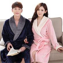 Bath Robe For Lovers Warm Leopard Bathrobes Female Flannel Nightgown Women Solid Nightwear Couples Thicken Pajamas Winter Fall(China)