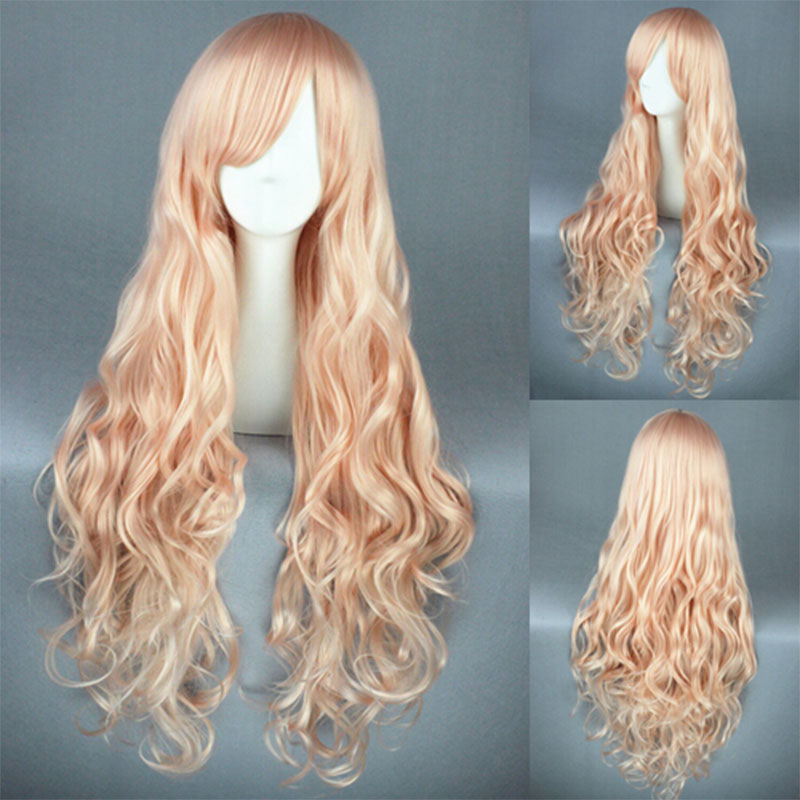 Macross F Sheryl Nome Cosplay Wig Light Pink 80Cm Long Curly Anime Hair Wigs+Free Wig Cap<br><br>Aliexpress