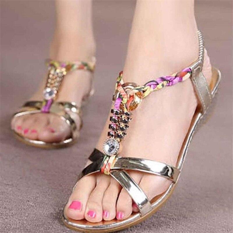 2017 Women Summer Shose Fashion Rhinestone Flat Sandals Women Sandals Comfortable Beach Shoes zapatos mujer #25<br><br>Aliexpress