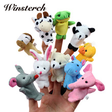 10pcs/lot Stuffed Dolls Finger Puppets Cartoon Animals Baby Favor Toys Dolls Kid Children Learning Educational Toy Gift  WW171