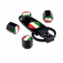 POSSBAY 4Pcs Car Styling Italy Flag Stainless Steel Car Wheel Valve Caps with Keychain Black Ventil Valvola Car Cover(China)
