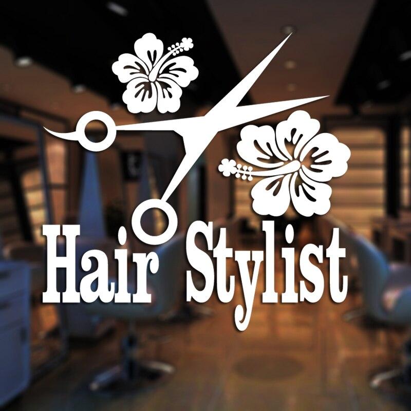 Hair Salon Sticker Beauty Scissors Decal Haircut Name Posters Vinyl Wall Art Decals Decor Decoration Mural Salon Sticker Mb056