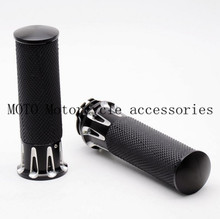 1 Pair 1'' 25mm Motorcycle Handlebar Hand Grips For Harley Touring 2008 2009 2010 2011 2012 2013 2014 2015 Motorbike Grips Black
