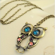 Nj-027 Hot Selling Hollow Out Beautiful Owl Women Necklace For Women 2014 Free Shipping