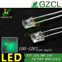 Pure green 234 square package 3mm light emitting diode 520-530nm 3.0-3.5V DIP 2x3x4  LED