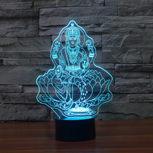 Beautiful 3D Buddha LED Night Light with USB Touch Table Lamp as Decoration Christmas Holiday Lights Four hand figure of Buddha.