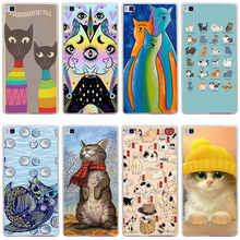 248GH lovely water color cats Hard Transparent Cover for Huawei P7 P8 P8 P9 Lite Honor 4C 5C 6 7 8  & Nova